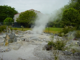 Steaming fumaroles in a city park